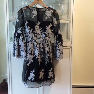 Black & Silver Lace Dress Nicole Miller 8